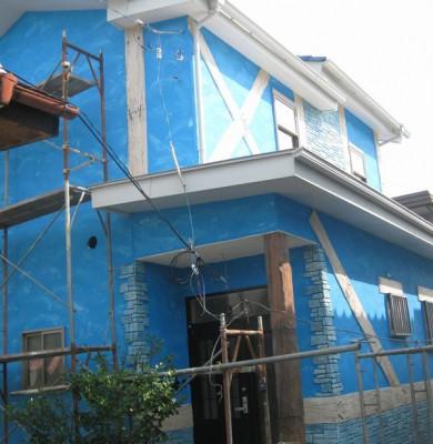 群馬県高崎市吉井町の住宅モルタル造形事例